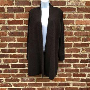Eileen Fisher Brown Open Cardigan Sweater M Wool